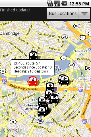 screen shot of BostonBusMap app